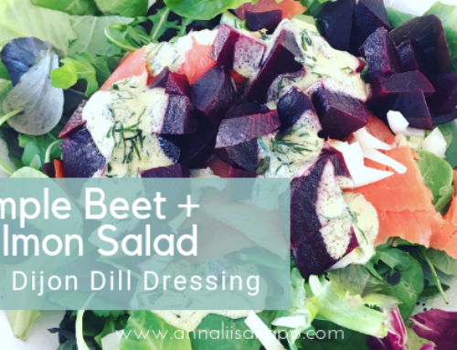 Simple Beet + Salmon Salad with Dijon Vinaigrette